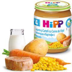 Hipp био пюре зеленчуци, картофи и телешко 4М+ 125 гр