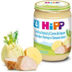Hipp пюре картофи, копър и заешко 4М+ 190 гр