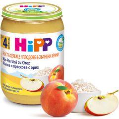 Hipp био пълнозърнеста каша плодове и ориз 4М+ 190 гр