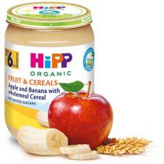 Hipp био пълнозърнеста каша ябълки и банани 6М+ 190 гр