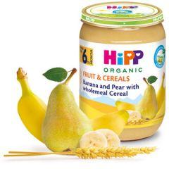 Hipp био пълнозърнеста каша круша и банан 6М+ 190 гр