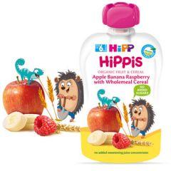 Hipp Hippis забавна закуска ябълка, банан и малина с пълнозърнести култури 6М+ 100 гр