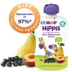 Hipp Hippis забавна закуска сливи, касис и круша 6М+ 100 гр
