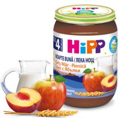 "Hipp био млечна каша ""Лека нощ"" с грис, ябълки и праскови 4М+ 190 гр"