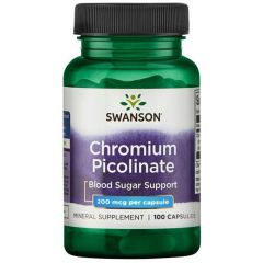 Swanson Chronium Picolinate Хром Пиколинат 200 мкг х 100 капсули