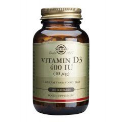 Solgar Vitamin D3 Витамин D3 за здрава костна система 400IU x100 капсули