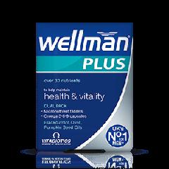 Vitabiotics Wellman Plus Витамини + Омега 3, 6, 9 за повече жизненост и добро здраве на мъжете x 28 таблетки + 28 капсули