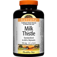 Natural Factors Holista Milk Thistle Млечен бодил при проблеми с черния дроб и жлъчката 150 мг х 240 софтгел капсули
