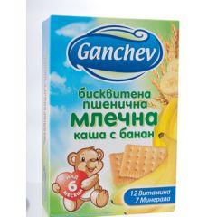 Ganchev Бисквитена пшенична млечна каша с банан 6М+ 200 гр