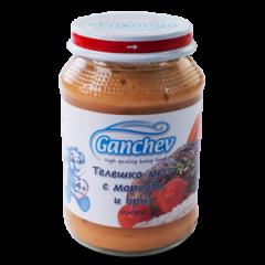 Ganchev Пюре телешко месо с моркови и ориз 4М+ 190 гр