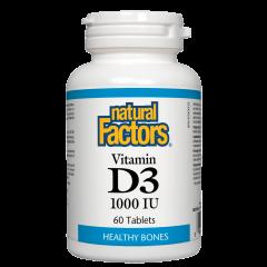 Natural Factors Vitamin D3 за здрави кости и зъби 1000 IU х 60 таблетки