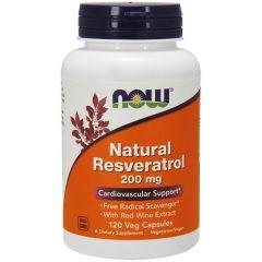 Now Foods Natural Resveratrol Ресвератрол 200 мг х 120 капсули