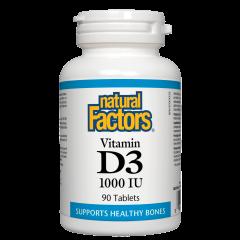 Natural Factors Vitamin D3 за здрави кости и зъби 1000 IU х 90 таблетки