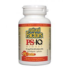Natural Factors PS-IQ Memory при смущения на паметта и работа под висок стрес 498 мг х 60 софтгел капсули