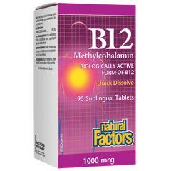 Natural Factors B12 Methylcobalamin поддържа нервната система и енергията 1000 мкг х 90 таблетки