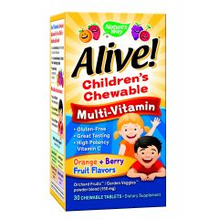 Nature's Way Alive Children's Chewable Multi-Vitamin Алайв мултивитамини за деца х30 дъвчащи таблетки