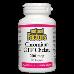 Natural Factors Chromium GTF Chelate Хром /хелат/ подобрява ефикасността на инсулина 200 мкг х 90 таблетки