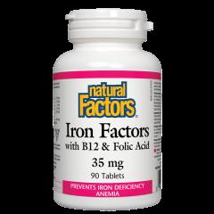 Natural Factors Iron Factors with B12 & Folic Acid за здравословни нива на хемоглобин в тялото 35 мг х 90 таблетки