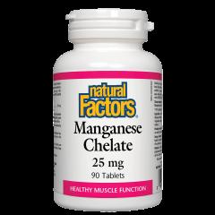 Natural Factors Mangamese Chelate поддържа доброто здраве 25 мг х 90 таблетки
