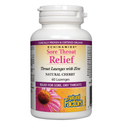 Natural Factors Sore Throat Relief при възпалено гърло и кашлица 60 мг х 60 таблетки за смучене