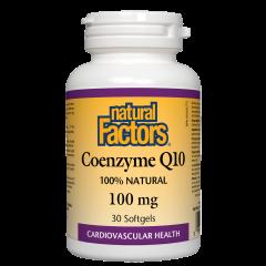 Natural Factors Coenzyme Q10 100% Natural Антиоксидант за енергия и нормална сърдечна функция 100 мг х 30 софтгел капсули