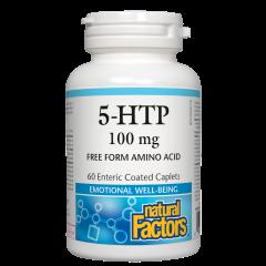Natural Factors 5-HTP Хидрокситриптофан при стрес и депресия 100 мг х 60 каплети
