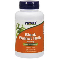 Now Foods Black Walnut Hulls Люспи от Черен Орех 500 мг х 100 капсули