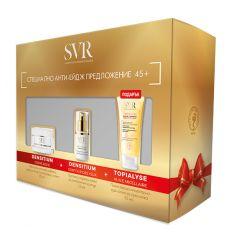 SVR Densitium Обогатен крем за лице със стягащ и уплътняващ ефект за суха кожа 45+ 50 мл + SVR Densitium Крем за околоочния контур със стягащ и уплътняващ ефект 45+ 15 мл + Подарък: SVR Topialyse Мицеларно душ-олио за суха и атопична кожа 55 мл Комплект
