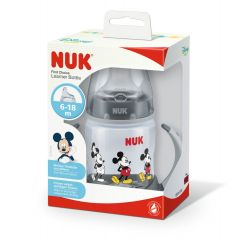Nuk Disney First Choice Black Mickey Drinking Bottle шише с две дръжки силиконов накрайник блек мики 6М+ 150 мл