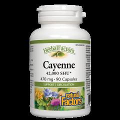 Natural Factors Cayenne Лют червен пипер за подобряване на кръвообращението 470 мг х 90 капсули