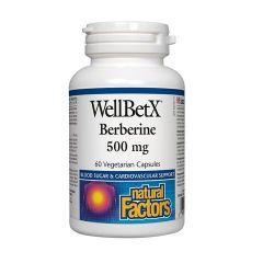 Natural Factors WellBetX Berberine за нормалните нива на кръвната захар и холестерола 500 мг х 60 капсули