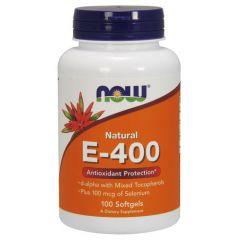 Now Foods Natural Vitamin E-400 + Selenium Натурален витамин Е + Селен х 100 дражета