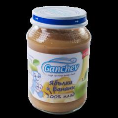 Ganchev Пюре ябълки и банани, 100% плод 4М+ 190 гр