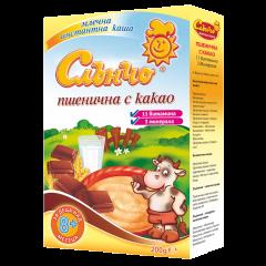Слънчо Млечна пшенична каша с какао 11 витамина 8М+ 200 гр