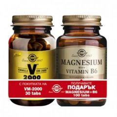 Solgar Formula VM 2000 + Solgar Magnesium with Vitamin B6 Солгар Формула ВМ 2000 х30 таблетки + подарък Солгар Магнезий+Витамин B6 х100 таблетки