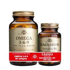 Solgar Omega 3-6-9+Solgar Magnesium with Vitamin B6 Омега 3-6-9 х60 софтгел капсули + подарък Магнезий+Витамин B6 х100 таблетки