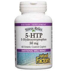 Natural Factors 5-HTP Хидрокситриптофан при стрес и депресия 50 мг х 60 таблетки