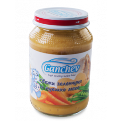 Ganchev Пюре свежи зеленчуци с пуешко месо 8М+ 190 гр