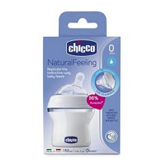 Chicco Natural Feeling шише биберон силикон 1 капка 0М+ 150 мл