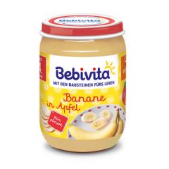 Bebivita пюре ябълка и банан без глутен 4М+ 190 гр