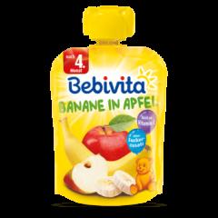 Bebivita забавна плодова закуска ябълка с банан без глутен 4М+ 90 гр