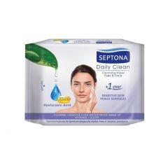 Septona Daily Clean Hyaluronic Acid Pro-Vitamin B5 Мокри кърпи за лице с хиалуронова киселина и провитамин B5 20 броя