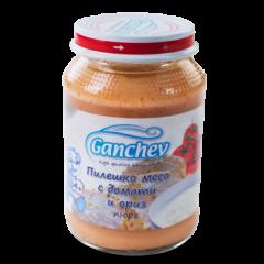 Ganchev Пюре пилешко месо с домати и ориз 4М+ 190 гр