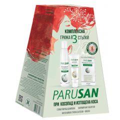 Parusan Комплексна грижа в 3 стъпки при косопад и изтощена коса Стимулиращ шампоан за жени + Интензивна грижа балсам-маска + Филмирани таблетки Комплект