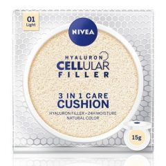 Nivea Cellular Filler Hyaluron 3in1 Cushion Фон дьо тен 3в1 за лице със слънцезащитен фактор SPF15 15 гр Светъл тон 01