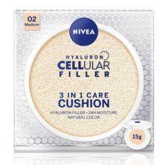 Nivea Cellular Filler Hyaluron 3in1 Cushion Фон дьо тен 3в1 за лице със слънцезащитен фактор SPF15 15 гр Среден тон 02