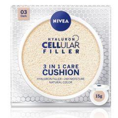 Nivea Cellular Filler Hyaluron 3in1 Cushion Фон дьо тен 3в1 за лице със слънцезащитен фактор SPF15 15 гр Тъмен тон 03