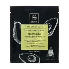 Apivita Express Beauty Интензивно хидратираща и успокояваща шийт маска за лице с авокадо 10 мл