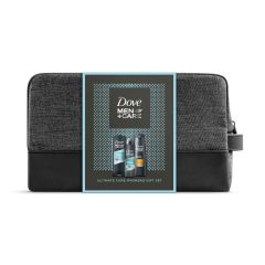 Dove Men+ Care Clean Comfort Дезодорант против изпотяване за мъже 150 мл + Dove Men+ Care Clean Comfort Хидратиращ душ-гел за лице и тяло за мъже 250 мл + Dove Men+ Care Шампоан за тънка коса за мъже 250 мл + подарък несесер Комплект