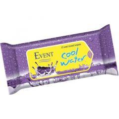 Event Fresh Cool Water Почистващи мокри кърпи лилави 15 бр